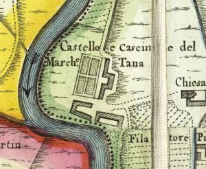 Castello di Lucento. Amedeo Grossi, Carta Corografica dimostrativa del territorio della Città di Torino, 1791. © Archivio Storico della Città di Torino
