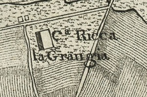 Cascina La Grangia, Grange. Carta topografica dimostrativa dei contorni della Città di Torino, 1785. © Archivio Storico della Città di Torino