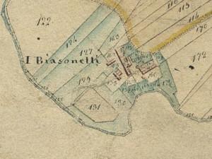 Cascina Biasone, Biasonetti. Catasto Gatti, 1820-1830. © Archivio Storico della Città di Torino