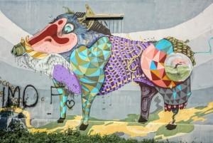 Rojo Roma, particolare del murale con facocero, giardino via Passo Buole. Fotografia di Roberto Cortese, 2017 © Archivio Storico della Città di Torino