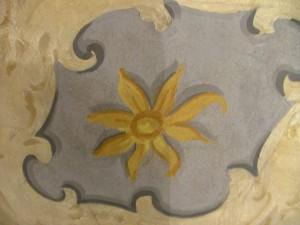 Dettaglio di un affresco durante i restauri a villa Amoretti. © Città di Torino.