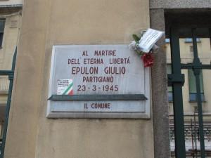 Lapide dedicata a Giulio Epulon (1922 - 1945)