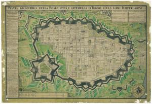 Pianta geometrica della reale città, e cittadella di Torino colla loro fortificazione (Galletti, 1790)