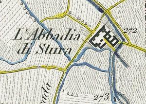 Abbadia di Stura. Antonio Rabbini, Topografia della Città e Territorio di Torino, 1840. © Archivio Storico della Città di Torino