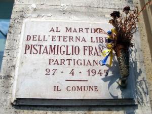 Lapide dedicata a Francesco Pistamiglio (1886 - 1945)