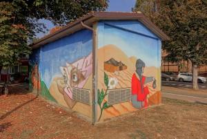MKE, murale su cabina elettrica, 2009, giardini stazione dei bus. Fotografia di Roberto Cortese, 2017 © Archivio Storico della Città di Torino