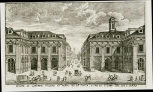 Veduta dei Quartieri Militari entrando per la porta Susina di Torino, incisione.© Archivio Storico della Città di Torino.