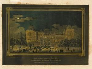 Illuminazione del Castello del Valentino in occasione delle feste per le nozze tra Vittorio Emanuele e Maria Adelaide, aprile 1842.  © Archivio Storico della Città di Torino