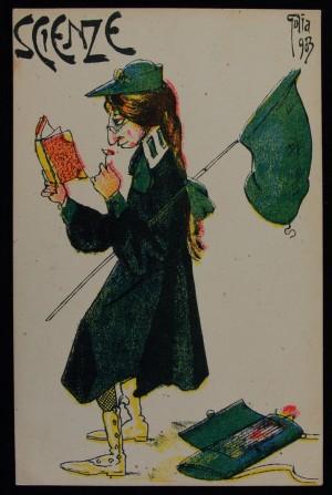 Golia [Eugenio Colmo], raffigurazione allegorica della Facoltà di Scienze Matematiche, fisiche e naturali, 1903. Fa parte di una serie di sei cartoline in cui le Facoltà sono rappresentate come donne. Archivio Storico dell'Università, Collezione Albera