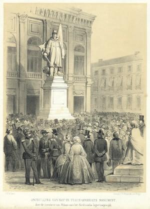 Inaugurazione del monumento di Vincenzo Vela all'Alfiere dell'Esercito Sardo, 10 aprile 1859. Litografia di P. Blommers su disegno di C. C. A. Last, 1859. © Archivio Storico della Città di Torino.