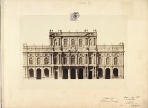 Palazzo Carignano, progetto per il prospetto su Piazza Carlo Alberto, luglio 1864. © Archivio Storico della Città di Torino