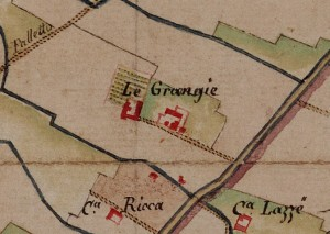 Cascina La Grangia, Grange. Carta delle Regie Cacce, 1816. © Archivio di Stato di Torino.