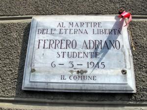 Lapide dedicata ad Adriano Ferrero (1927 - 1945)