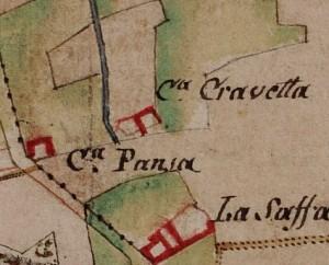 Cascina Cravetta. Carta delle Regie Cacce, 1816, ©Archivio di Stato di Torino