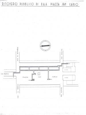 Planimetria del ricovero pubblico Piazza San Carlo, scala 1:1500. ASCT, Miscellanea sicurezza pubblica 58. © Archivio Storico della Città di Torino