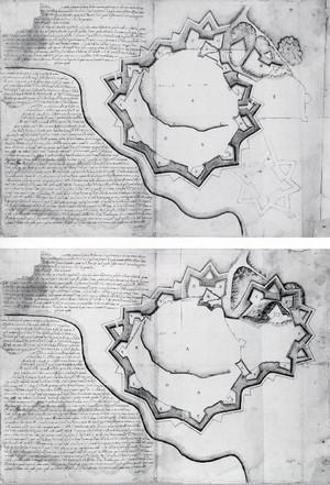 Pietro Arduzzi. Progetti alternativi per le difese di Asti, escludendo o no il borgo di San Pietro. © Biblioteca Reale di Torino.