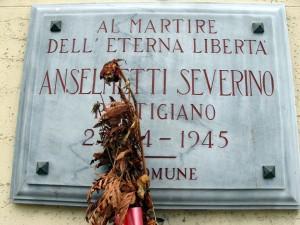 Lapide dedicata a Severino Anselmetti (1912 - 1945)