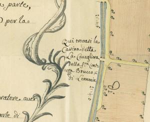 Cascina Cavaliera. Giovanni Francesco Clerico, Disegno dei territori tra Torino e Collegno, 1761. © Archivio Storico della Città di Torino