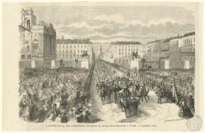 L'imperatore Napoleone e il re di Sardegna Vittorio Emanuele II attraversano piazza Castello e piazzetta Reale, 15 luglio 1859. © Archivio Storico della Città di Torino