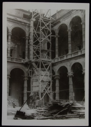 Palazzo del Rettorato, cantiere per la ricostruzione, 1948-1952. Archivio storico dell'Università, Direzione Edilizia