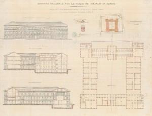Progetto dell'ex Istituto Figlie dei Militari dell'ingegnere Reycend del 1884.