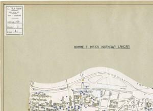 Bombe e mezzi incendiari lanciati 1:5000, 1942-1945. Zona 11: Molinette - Millefonti Nuova Barriera di Nizza. ASCT, Tipi e disegni,cart. 68, fasc. 1 disegno 11, quadrante 4. © Archivio Storico della Città di Torino