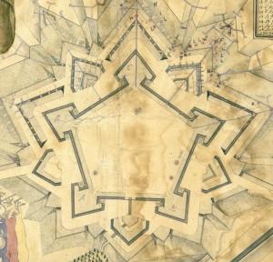 La Cittadella di Torino a cavallo fra gli anni '20 e '30 del Settecento. De La Vallée Auguste, Plan des sousterrains de la Cittadelle de Turin, particolare.