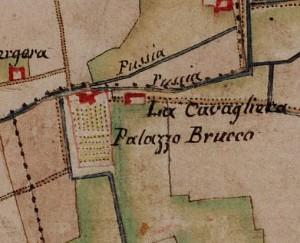 Villa Cristina, già cascina Brucco. Carta delle Regie Cacce, 1816, ©Archivio di Stato di Torino
