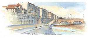 Lorenzo Dotti, Torino dai Murazzi, 25 dicembre 2017, ore 15,18, acquerello