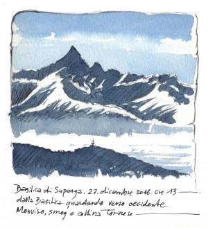 Lorenzo Dotti, Basilica di Superga, 27 dicembre 2016 ore 13. Dalla Basilica guardando verso occidente, Monviso, smog e collina torinese, acquerello