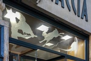 Majerna, armeria, particolare dei vetri sabbiati in vetrina, 2017 © Archivio Storico della Città di Torino