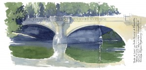 Lorenzo Dotti, Ponte di Sassi, ex Ponte Principi di Piemonte. Torino, Fiume. Costruito tra il 1926 e il 1927 su progetto di Giuseppe Pagano Pogatschnig, ottobre 2012 acquerello
