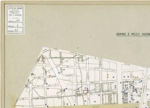 Bombe e mezzi incendiari lanciati 1:5000, 1942-1945. Zona 12: Fiat Mirafiori - Lingotto Ippodromo. ASCT, Tipi e disegni,cart. 68, fasc. 1 disegno 12, quadrante 4. © Archivio Storico della Città di Torino