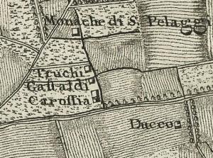 Cascina Tre Tetti Nigra. Francesco De Caroly, Carta topografica dimostrativa, 1785, ©Archivio di Stato di Torino