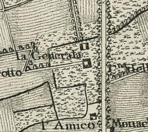 Cascina Generala. Carta topografica dimostrativa dei contorni della Città di Torino, 1785. © Archivio Storico della Città di Torino