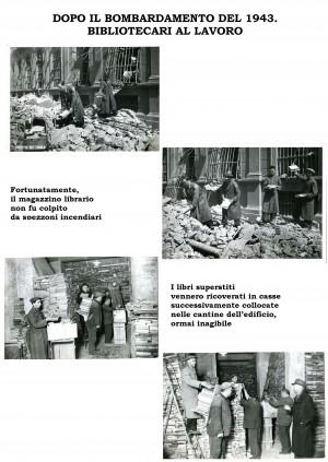 Dopo il bombardamento 1943: bibliotecari al lavoro