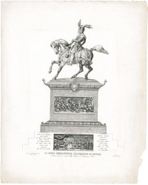 Carlo Marocchetti, Monumento ad Emanuele Filiberto, 1838. Litografia di Iunck. © Archivio Storico della Città di Torino