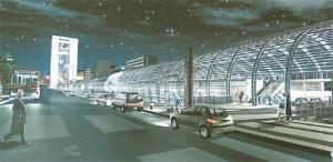 Il progetto del Nuovo Fabbricato Viaggiatori, vista esterna; sullo sfondo, a sinistra, il grattacielo progettato nel medesimo ambito e non ancora realizzato. © AREP, Silvio D'Ascia, Studio Magnaghi.