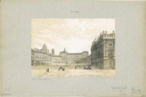 Veduta di piazza Castello, litografia. © Archivio Storico della Città di Torino