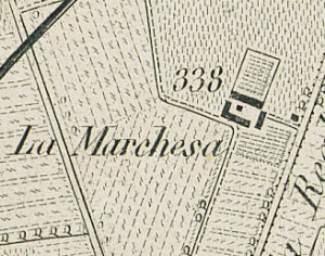Cascina La Marchesa, già La Florita. Antonio Rabbini , Topografia della Città e Territorio di Torino, 1840, © Archivio Storico della Città di Torino