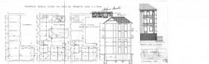 Tavola di progetto della casa in via Giachino 36 (stradale Lanzo) tratto dal progetto edilizio presentato dall'allora proprietario dello stabile, Milano Basilio, per il suo ampliamento nel 1927.