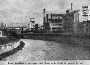 Borgo del Fumo torri del gas sulle rive della Dora, 1959. Archivio Storico della Città di Torino