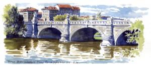 Lorenzo Dotti, Torino, Ponte Umberto I, Fiume Po, 10 luglio 2014, ore 16,30, acquerello
