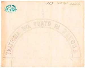 Porto di Savona, disegno dell'insegna centinata, 18 aprile 1872, ASCT, TD. 94.2.185 © Archivio Storico della Città di Torino