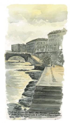 Lorenzo Dotti, Torino. Novembre 2012, dai Murazzi guardando il Ponte Vittorio Emanuele I e Piazza Vittorio, verso sera ore 16/17, acquerello