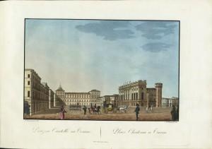 Veduta di piazza Castello. Litografia acquerellata di A. Biasioli su disegno di A. Chenavard. © Archivio Storico della Città di Torino
