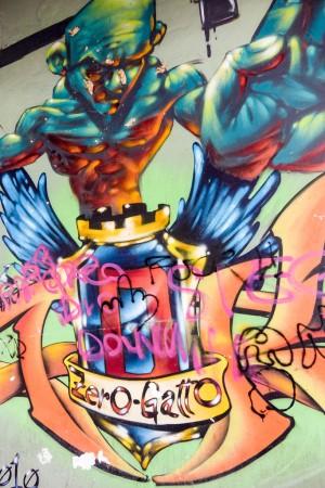 Associazione Artefatti, senza titolo, dettaglio del murale, 2006, piazza Pollarolo. Fotografia di Roberto Cortese, 2017 © Archivio Storico della Città di Torino