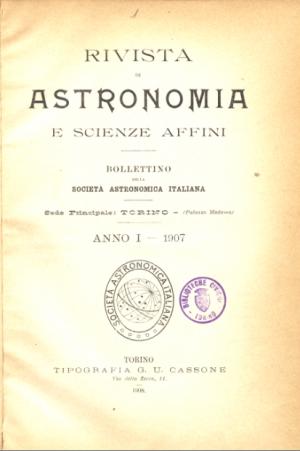 «Rivista di Astronomia e Scienze affini», 1907, copertina