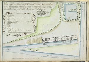 «Piano Regolare» degli edifici produttivi lungo il canale del Martinetto, tra cui quello «per la Vernice della Majolica», disegno del 1781. © Archivio Storico della Città di Torino
