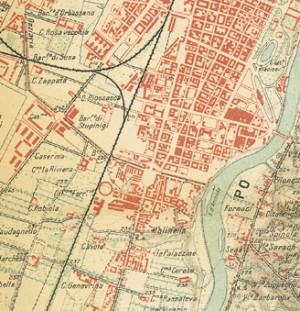 Particolare della Pianta di Torino e dintorni, 1911. ASCT, Collezione Simeom, D 135. © Archivio Storico della Città di Torino